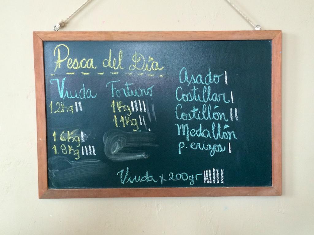 La Picantería fish availability board