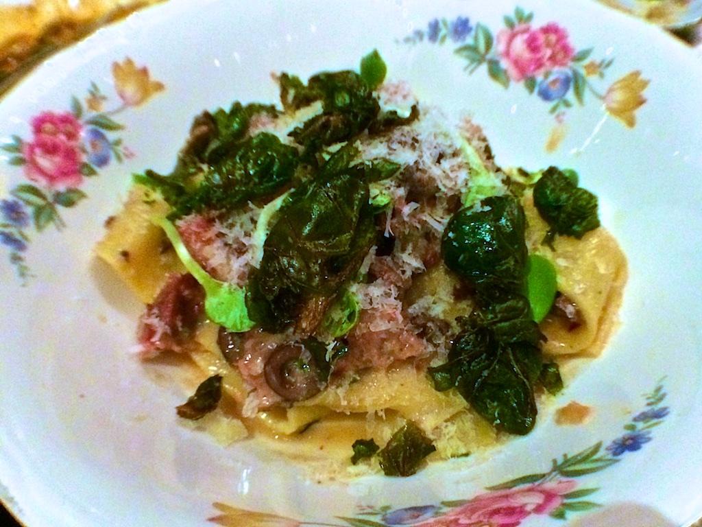 Black olive pasta, braised goat, sage, parmesan